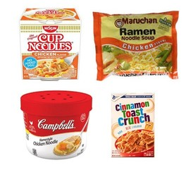 Instant Noodles, Microwaveable Soups, Cereal