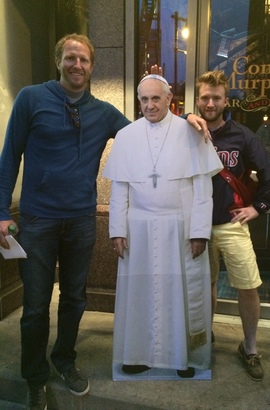 Isaac (at right) with his friend Zack and his pope, Francis
