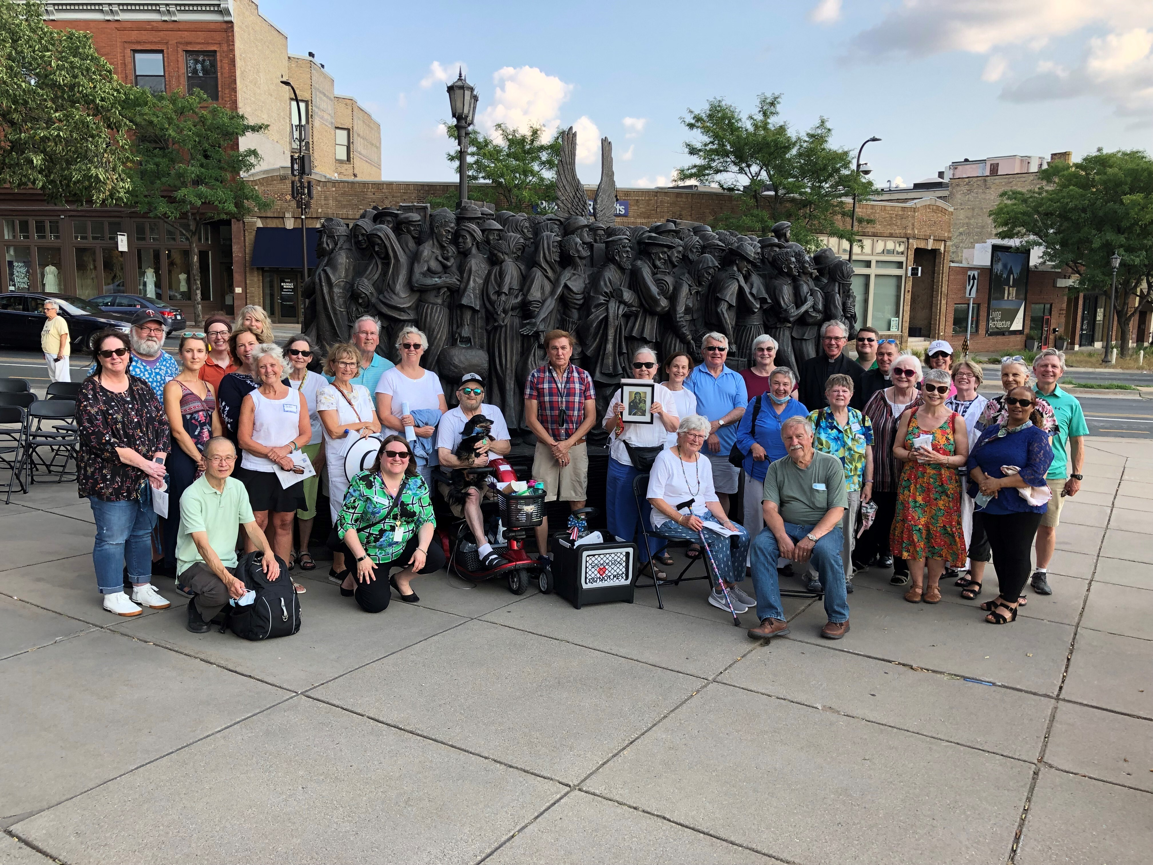 Hosting the Angels Unawares statue at the Basilica of St. Mary, Minneapolis