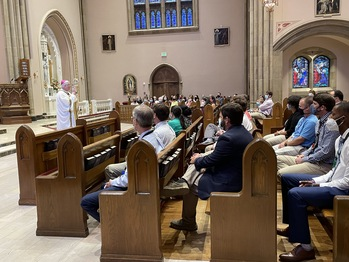 Bishop Malone Celebrates Mass and Holds Convocation for Catholic School Educators