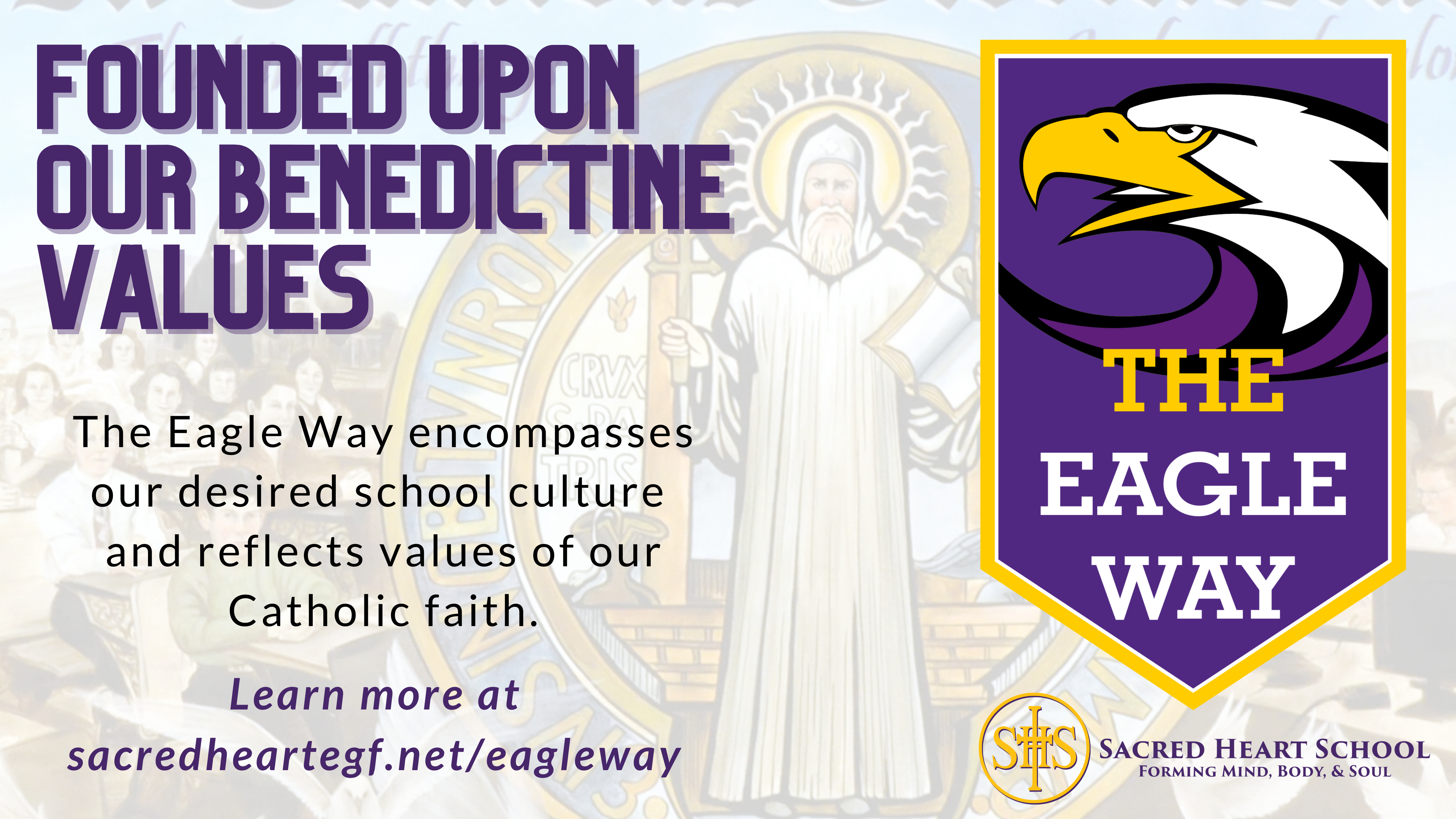 The Benedictine History Mural which was installed in the Sacred Heart High School commons in 2015.