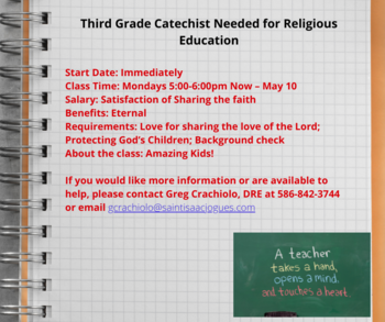3rd Grade Catechist Needed