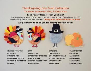 Thanksgiving Day Food Pantry Collection
