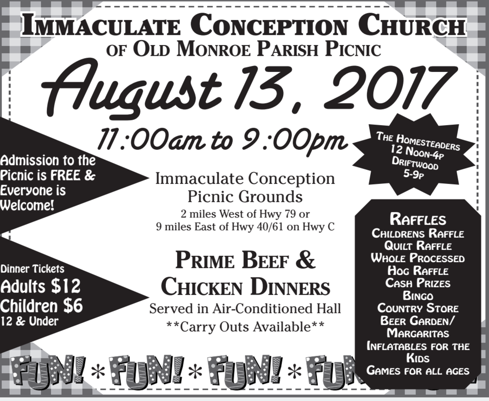 Parish Picnic, Immaculate Conception Old Monroe | Immaculate