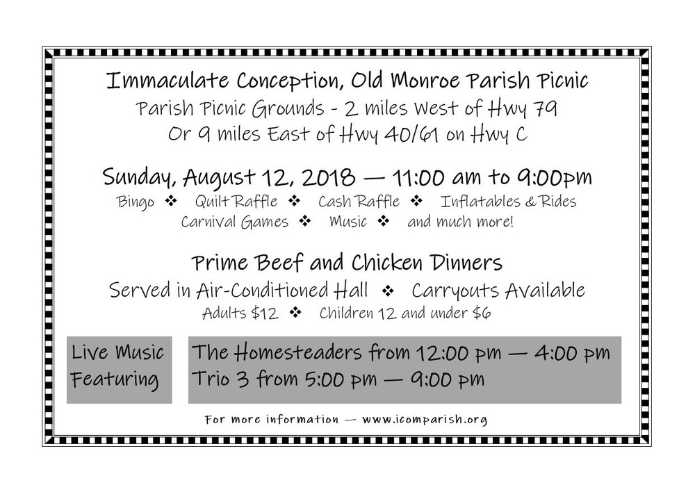 Immaculate Conception, Old Monroe Parish Picnic | Immaculate