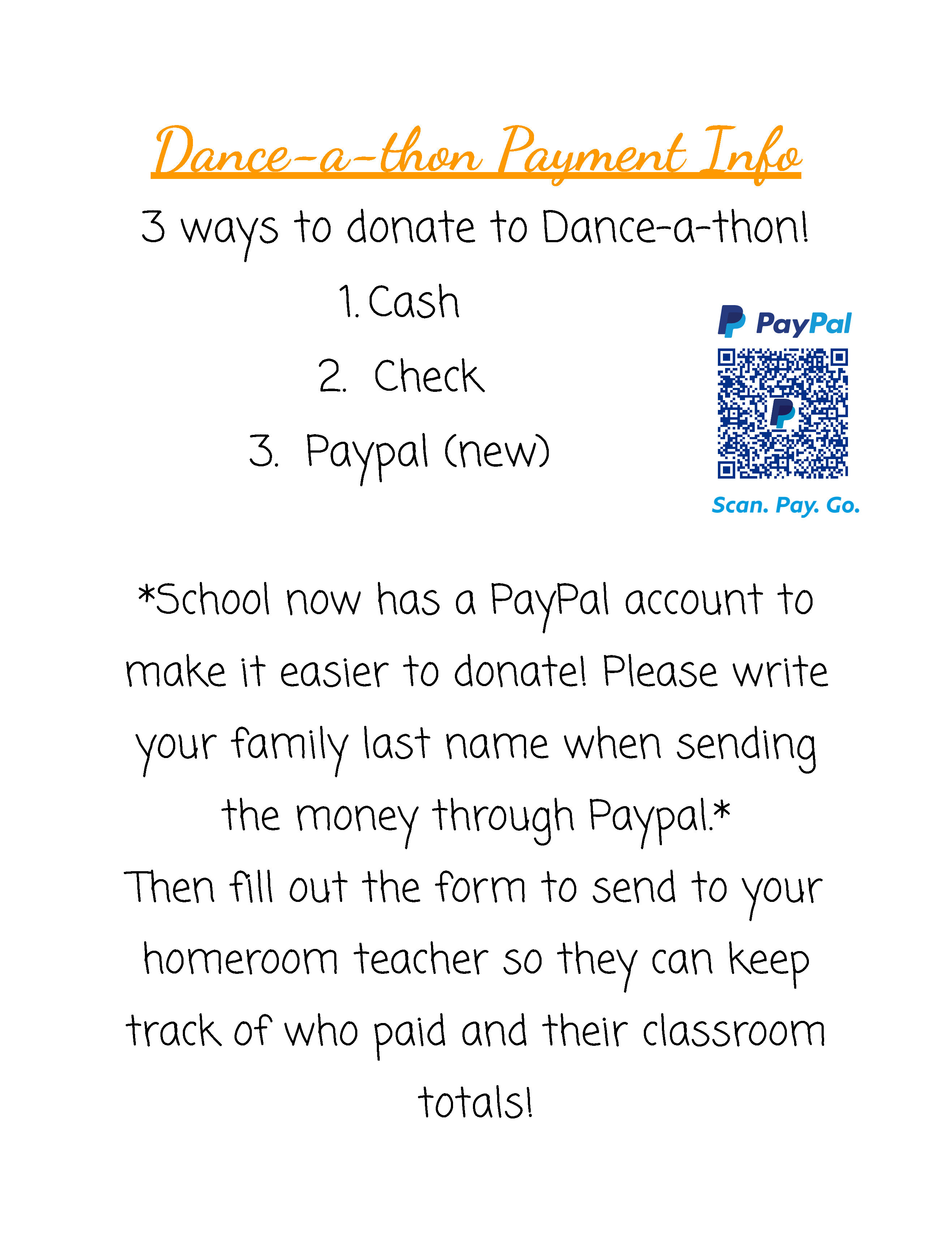 SFA Dance-A-Thon Payment Info