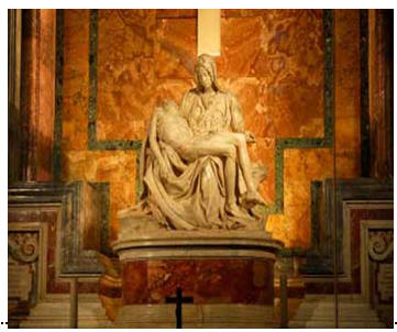 Photo of the Pieta by Michaelangelo- the world's most famous religious statue
