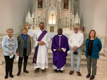 Betty Arnett (St. Agnes), Norma Luckett Pastoral Council), Deacon Chris Herbert, Fr. Deo Ssamba, Dave Jewell (Pastoral Council) , Mary Jo McKinley (administrative assistant)