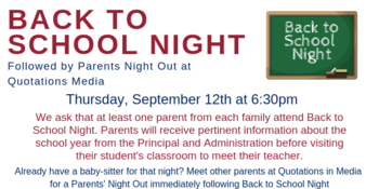 Back to School Night & Parent's Night Out
