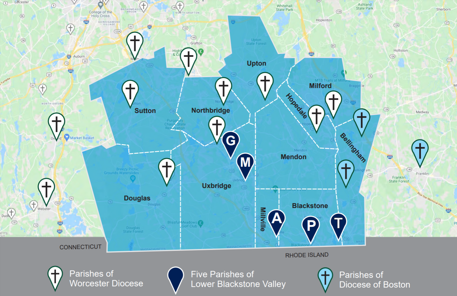 Map of the 5 parishes in the renewal