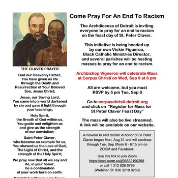 Archbishop Vigneron to Celebrate Mass in Honor of St. Peter Claver Feast Day