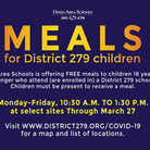 Schedule of Meals for District 279 Children.