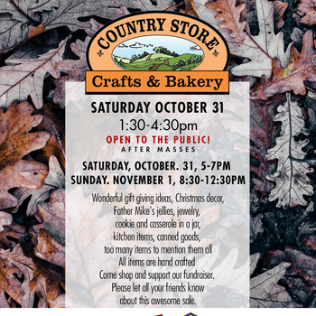 Ladies Auxiliary Country Store Crafts & Bakery Sale – Oct 31-Nov 1