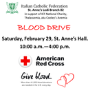 Italian Catholic Federation - Blood Drive