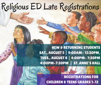 Last chance for Religious Education Registrations!