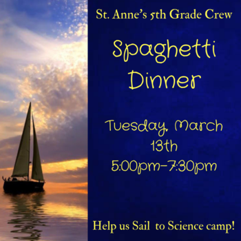 Spaghetti Dinner - Tuesday, March 13, 2018