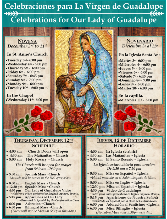 Our Lady of Guadalupe Schedule Lodi CA 2018