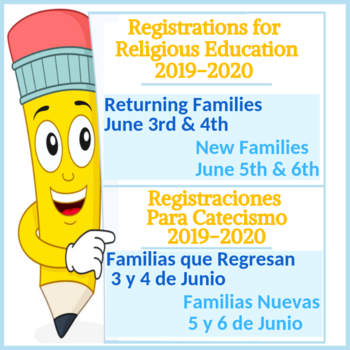 Religious Education Registrations 2019-2020