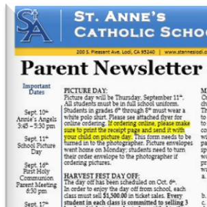 St. Anne's School Newsletter