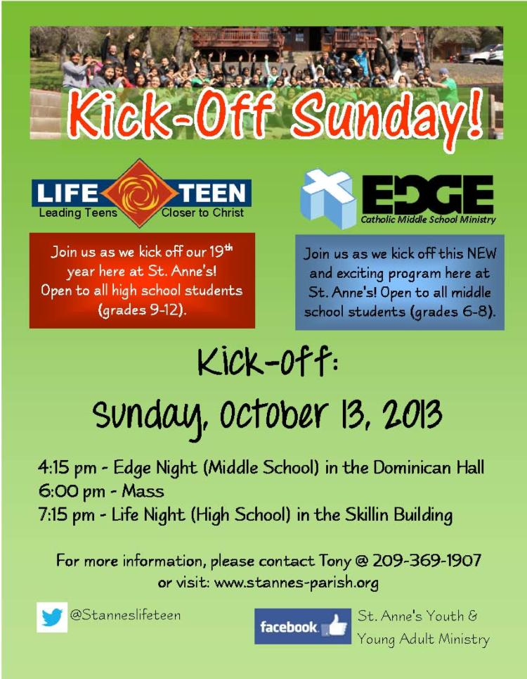 EDGE & LIFE TEEN KICK OFF SUNDAY