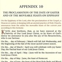 The Proclamation of the Date of Easter and the Movable Feasts on Epiphany