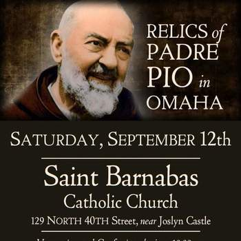 Saint Barnabas will host the relics of Padre Pio
