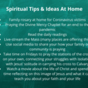 Spiritual Tips & Ideas for Practicing Your Faith at Home