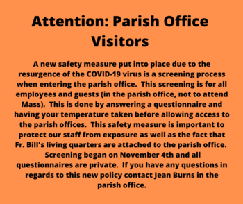 Parish Office Screening Procedure for Staff and Visitors