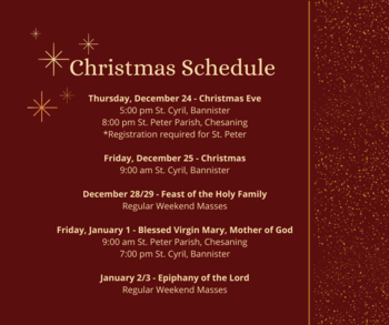 Mass Schedule for the Christmas Season