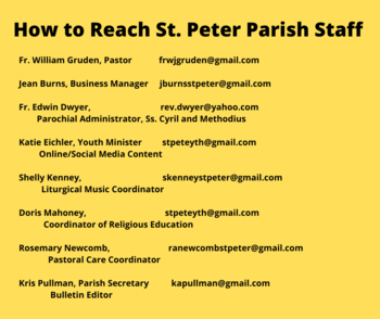 How to Contact Parish Staff