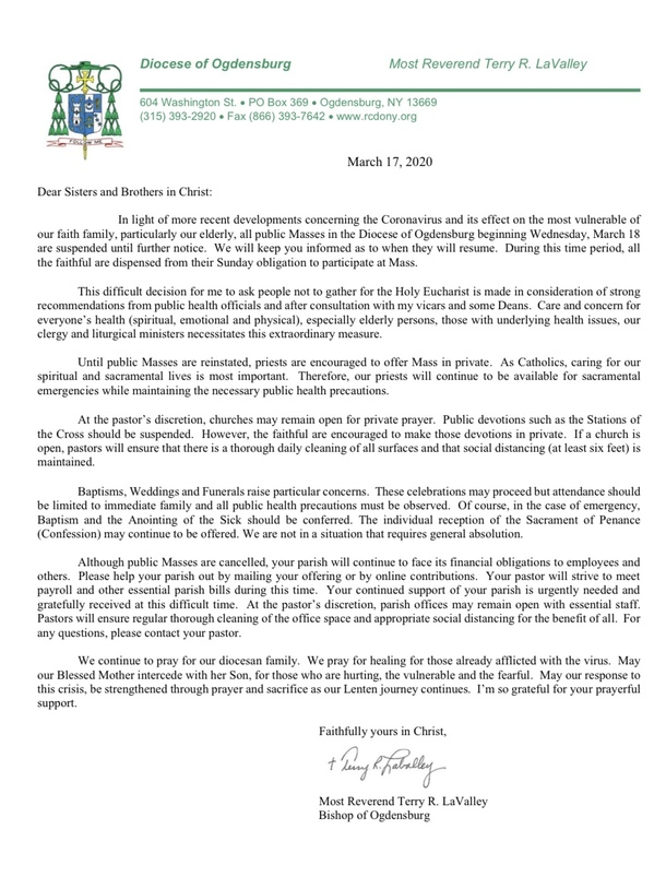 A letter from our Bishop