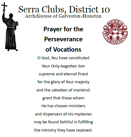 Serran Prayer for the Perseverance of Vocations