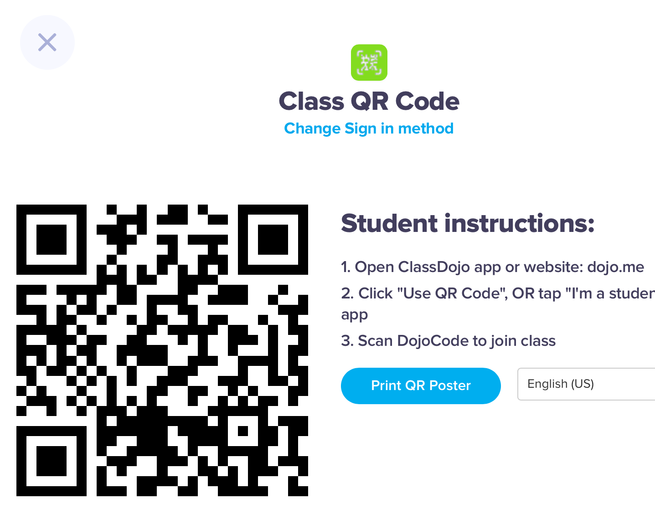 Scan QR Code with a QR reader App to get into Class Dojo