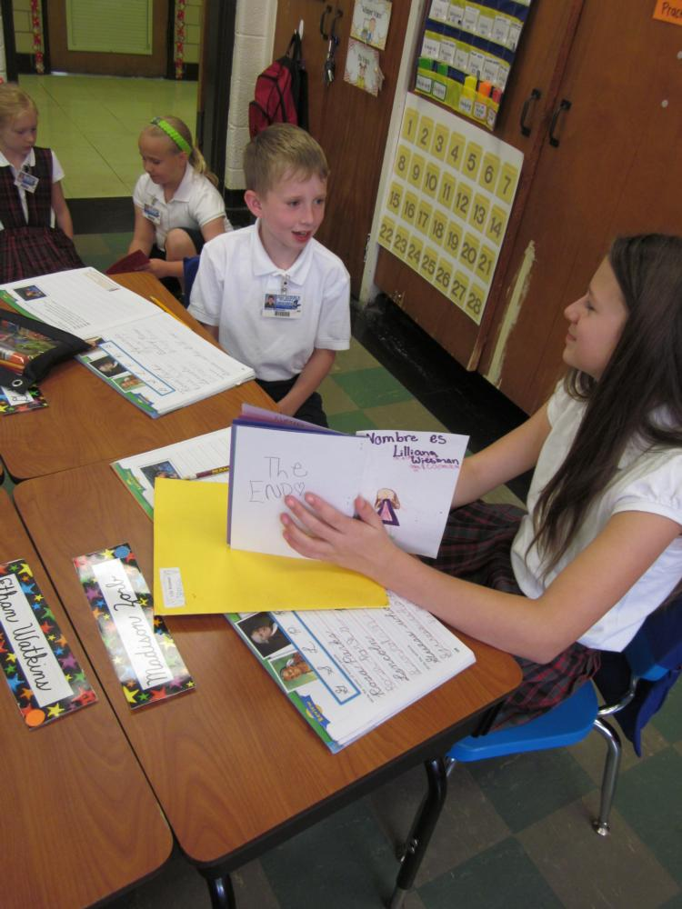 Fifth Graders Share Stories with Second Graders