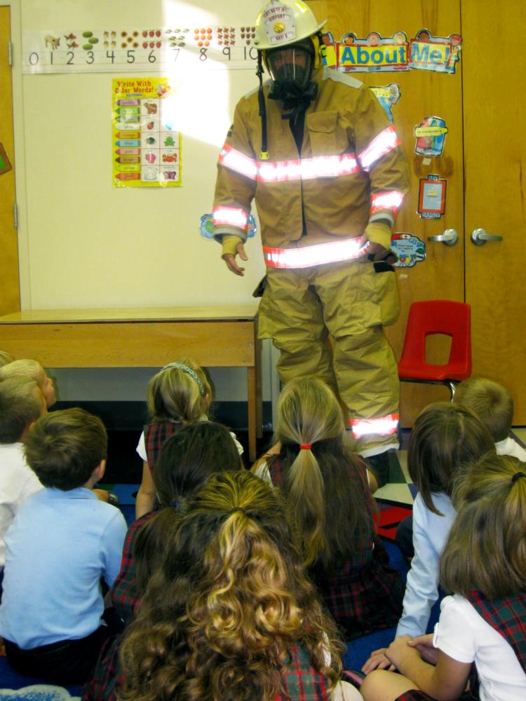Firefighter Visits Kindergarten Classroom