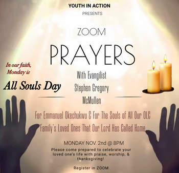 YIA presents PRAYERS Zoom All Souls Day - Nov 2 at 8pm - Please click here to register for Zoom