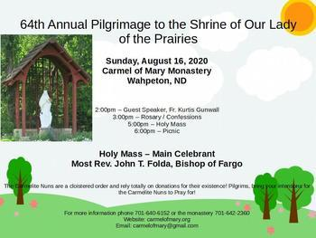 64th Annual Pilgrimage to the Shrine of Our Lady of the Prairies