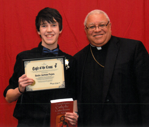 Eagle of the Cross 2015 - Sean Fejes with Bishop Murry