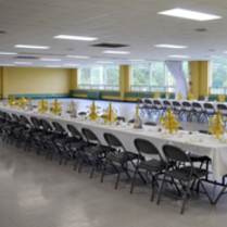 Hughes Hall set up for a party