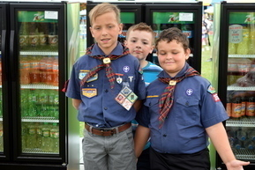 Cubs Scouts man Pop Booth