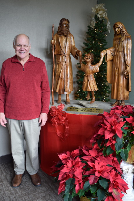 Rick Cermak with Holy Family sculpture