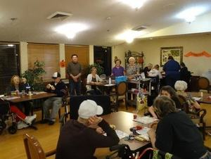 St. Joseph Cares members hold bingo for nursing care facility residents