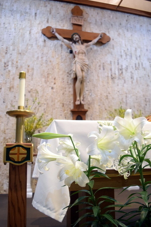 crucifix & altar at Eastertime
