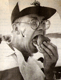 Terry Murphy enjoys an ox sandwich