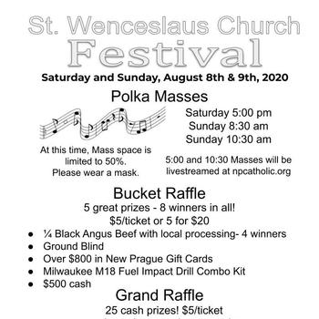 St. Wenceslaus Parish Festival, August 8 & 9, 2020