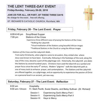 The Lent Three-Day Event is Coming!