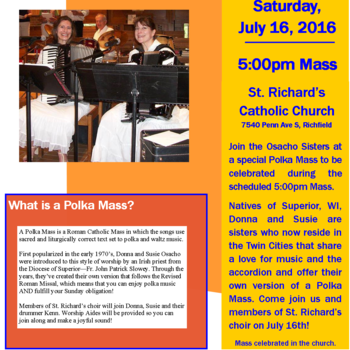 Polka Mass will be July 16!