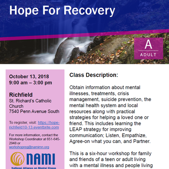 NAMI: Hope for Recovery Workshop