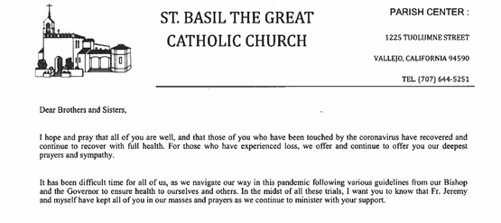 Image of letter from Fr. Ambrose