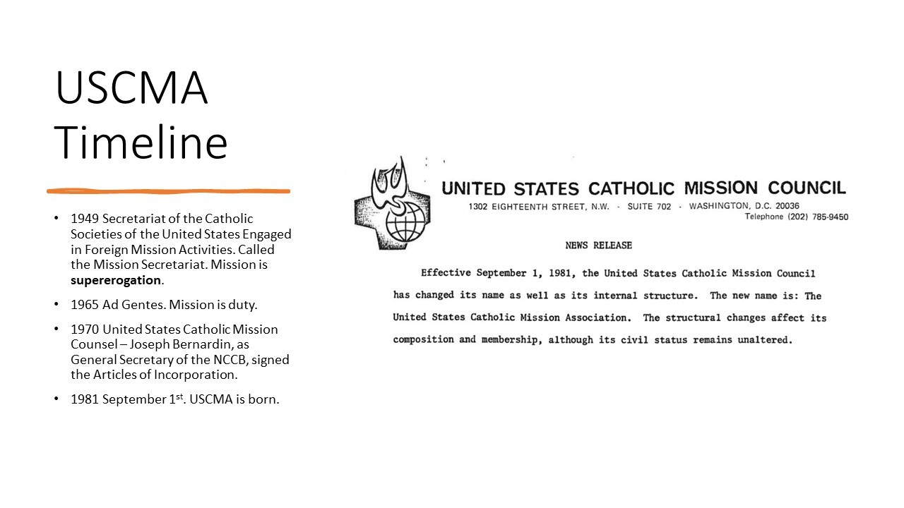 USCMA Timeline of key events and news release announcing 1981 founding of the organization